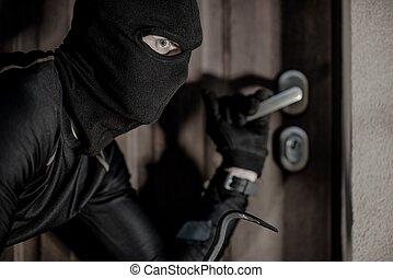 casa, ladrón, máscara