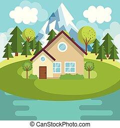 casa, lago, paesaggio, scena