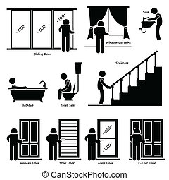 casa lar, indoor, instalações, cliparts
