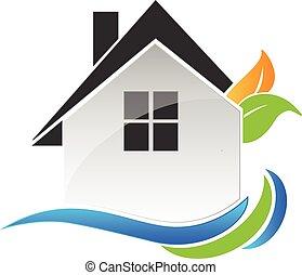casa, leafs, y, ondas, logotipo