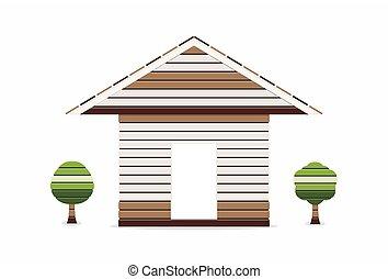 casa legno, albero, illustrazione, fondo, vettore, piccolo, bianco