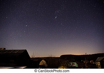 casa legno, cielo, fondo, notte