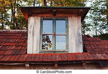 casa legno, esterno, vecchio