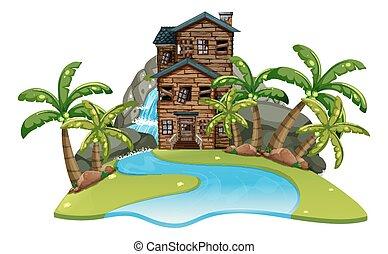 casa legno, fiume, vecchio, scena