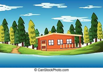 casa legno, foresta