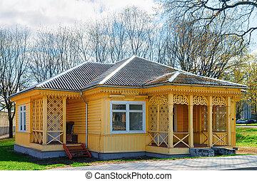 casa legno, terrazzo, paese, piccolo, vilnius