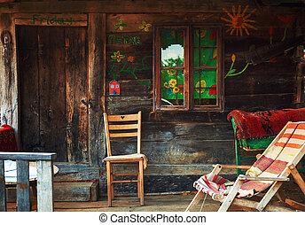 casa legno, vecchio, esterno