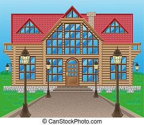 casa legno, vettore, illustrazione