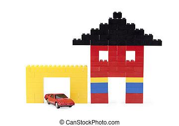 casa, lego, diminuto, garaje