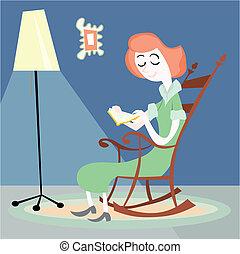 casa, leitura mulher