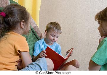 casa, lettura, bambini