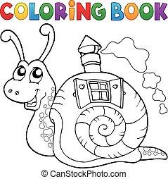 casa, libro, cáscara, colorido, caracol