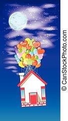 casa, ligado, a, balões, voar, a, céu, com, lua