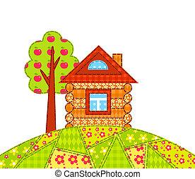 casa, ligado, a, colina, isolado