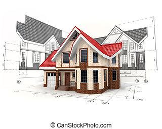 casa, ligado, a, esboços, em, diferente, projeções, e, blueprints.