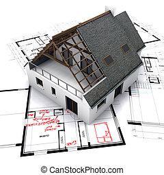 casa, ligado, desenhos técnicos, com, notas, e, correções