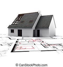 casa, ligado, desenhos técnicos, com, vermelho, correções