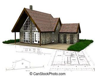 casa, ligado, desenhos técnicos