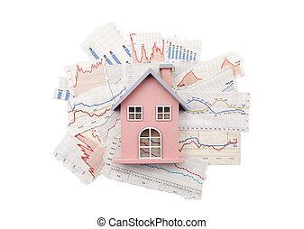 casa, ligado, jornal, gráficos