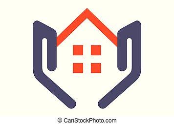 casa, ligado, mão, logotipo