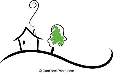 casa, ligado, um, colina