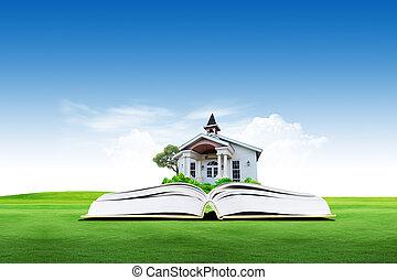 casa, ligado, verde, livro, sobre, a, nuvem, com, céu, fundo