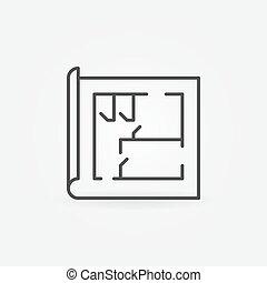 casa, linea, piano, icona
