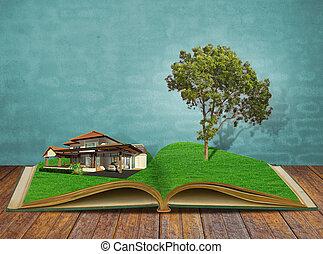 casa, livro, magia, árvore