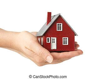 casa, llevar a cabo la mano