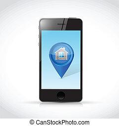 casa, locator, puntatore, illustrazione, telefono
