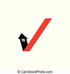 casa, logo., cheque, seta, marca