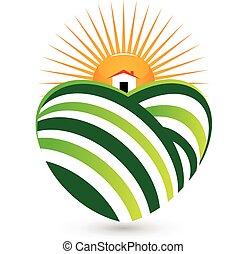 casa, logotipo, agricultura, sol