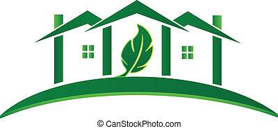 casa, logotipo, ecología, verde, concepto