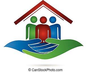 casa, logotipo, proteção, família, mãos