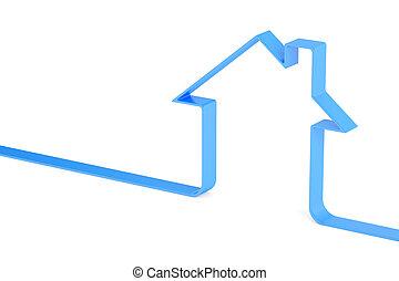 casa, logotype, 3d, interpretazione