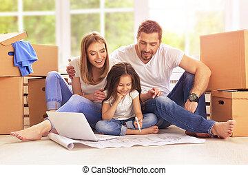 casa, loro, spostamento, famiglia, nuovo