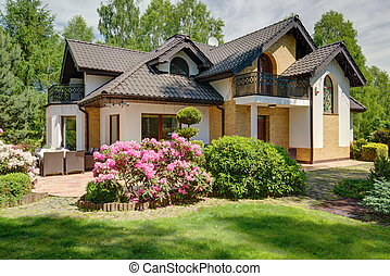 casa, lujoso, suburbios