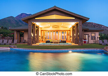 casa, lusso, stagno, nuoto