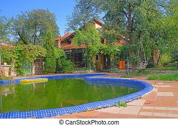 casa, luxo, piscina, natação