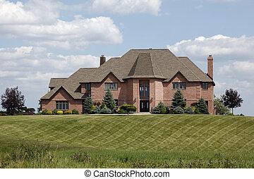 casa luxury, con, manicured, césped