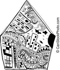 casa, mão, cidade, desenhado