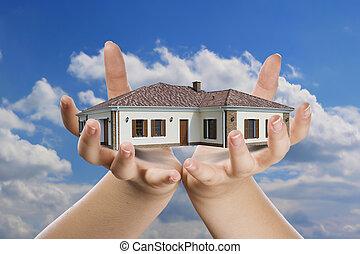 casa, mão