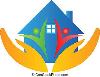 casa, mãos, família, logotipo