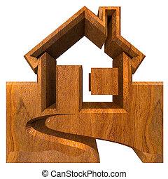 casa, madeira, -, 3d, ícone