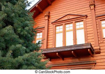 casa madeira, balcony., luxo