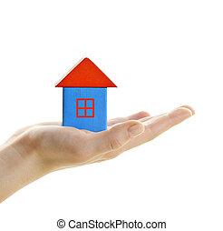 casa madeira, bloco, mão