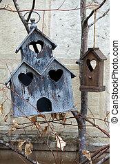casa madeira, feito à mão, pássaros