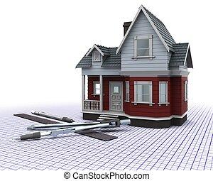 casa, madeira, grade, desenho, instrumentos