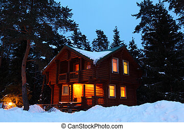 casa madeira, madeira, crepúsculo, inverno