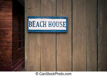 casa madeira, praia, cerca, sinal